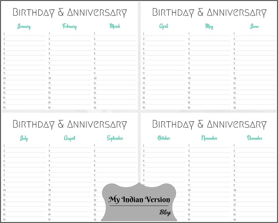 birthday anniversary calendar free