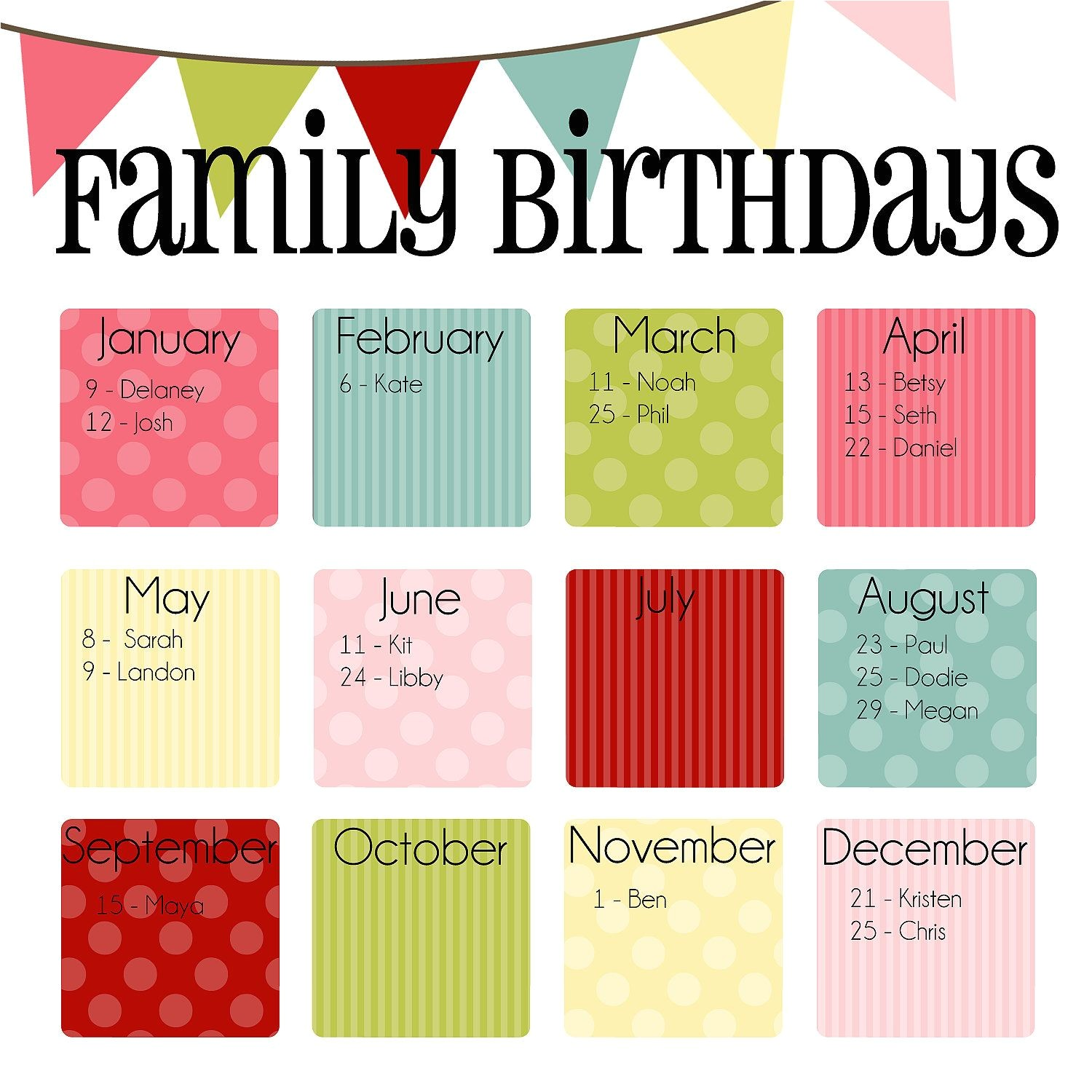 Birthday Calendars Templates Free Family Birthday Calendar Digital Copy You Print In Quot Ice