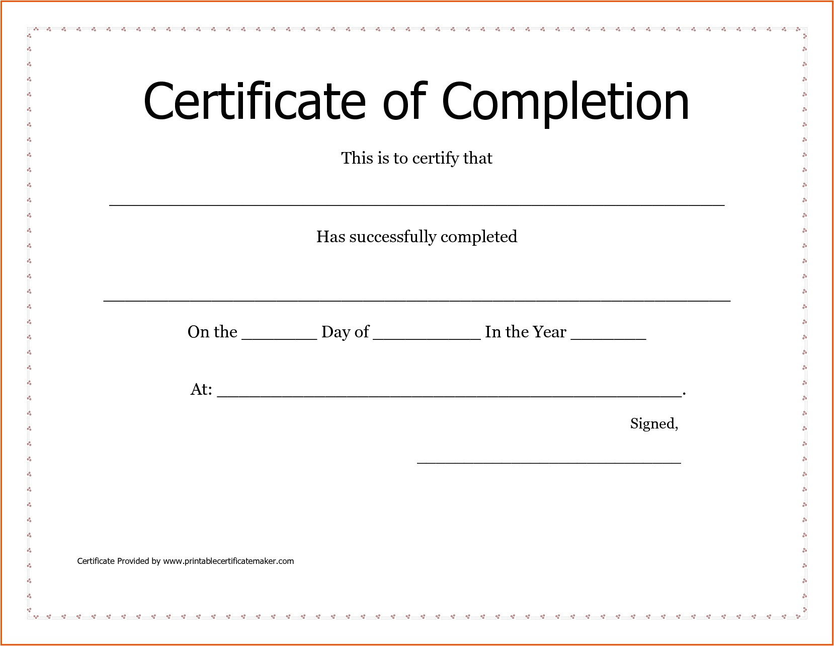 Blank Certificate Of Completion Template Blank Certificates Of Completion Mughals