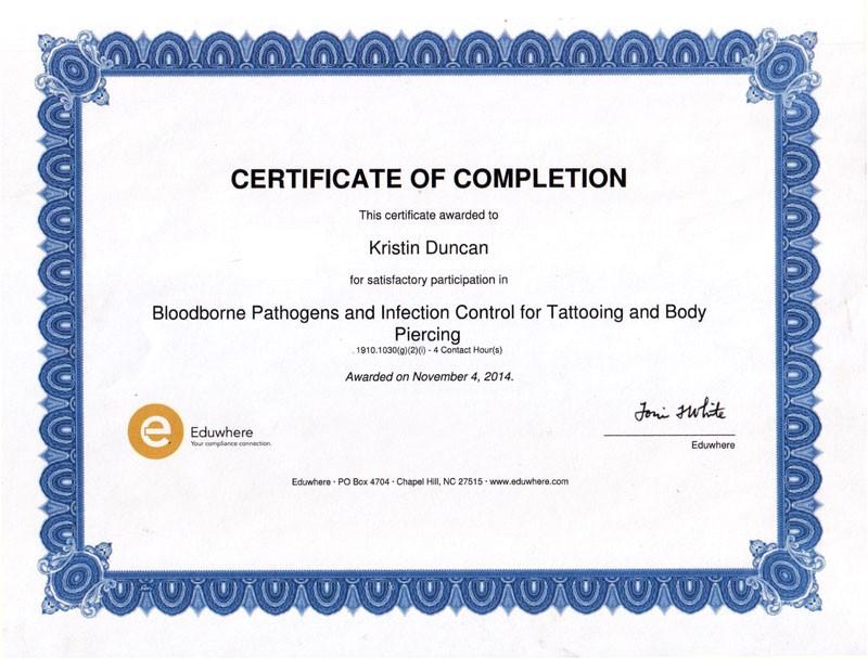 bloodborne pathogens certificate template free download
