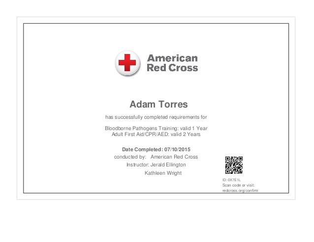 first aid cpr aed bloodborne pathogens certificate