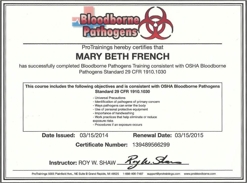 osha bloodborne pathogens certification best s of osha certificate template osha training