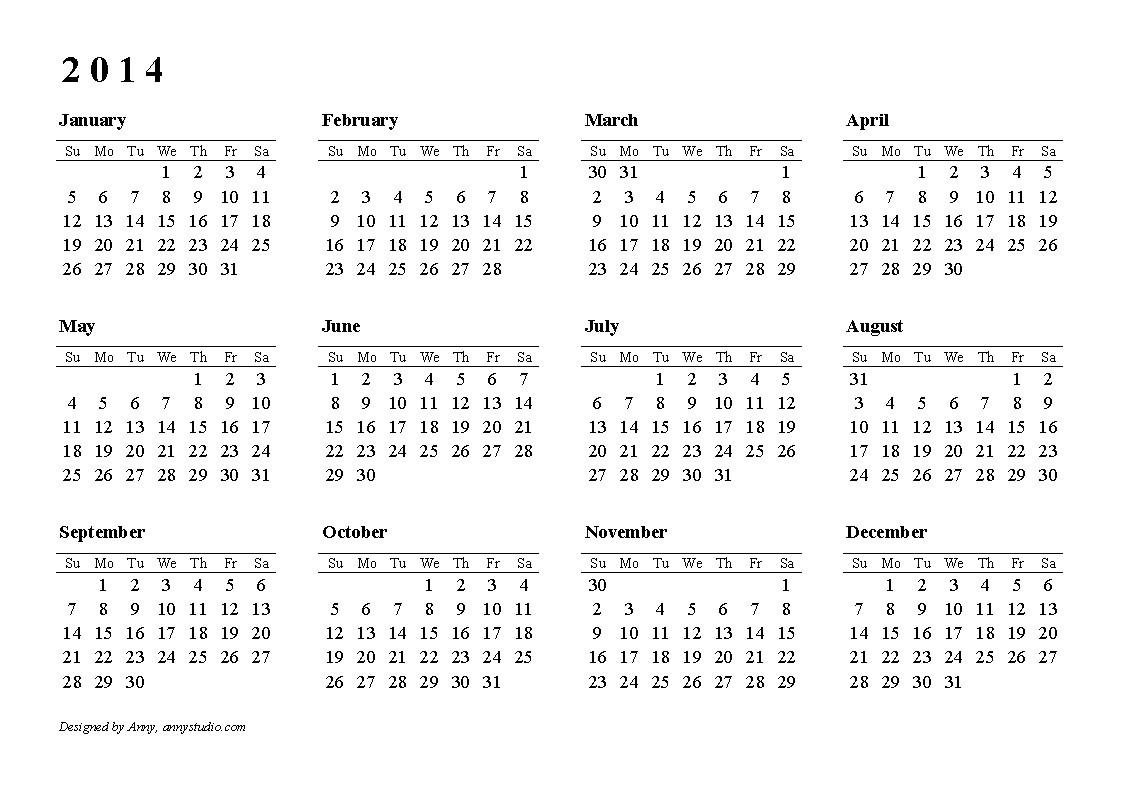 2014 calendar at a glance template