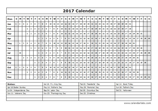 Calendar at A Glance Template 2017 Calendar Template Year at A Glance Free Printable