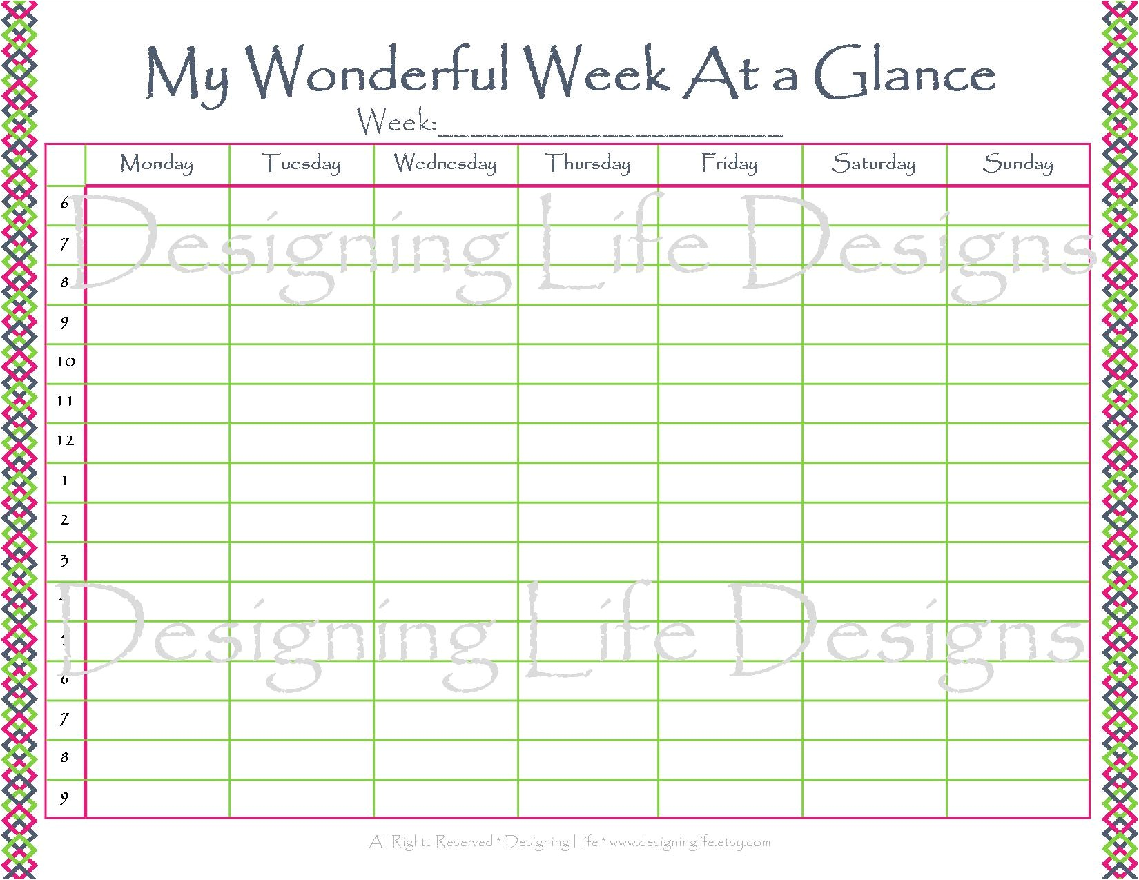 post printable week at a glance calendar template 327420