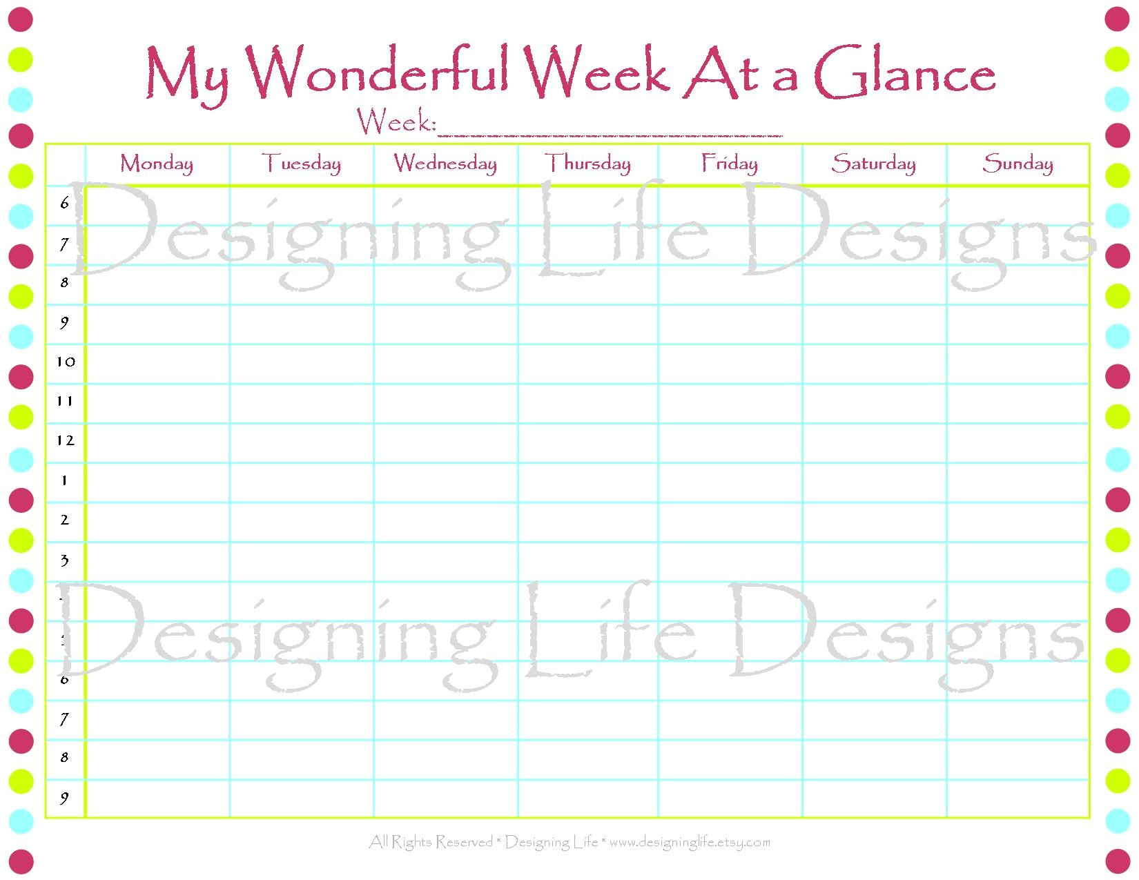 post printable week at a glance template 46501