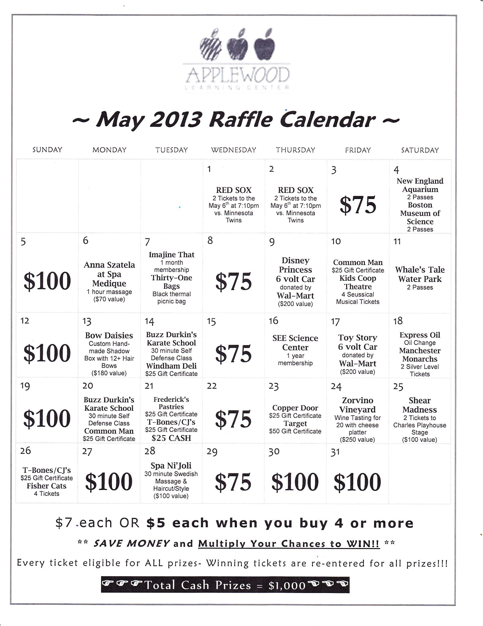 annual raffle calendar fundraiser