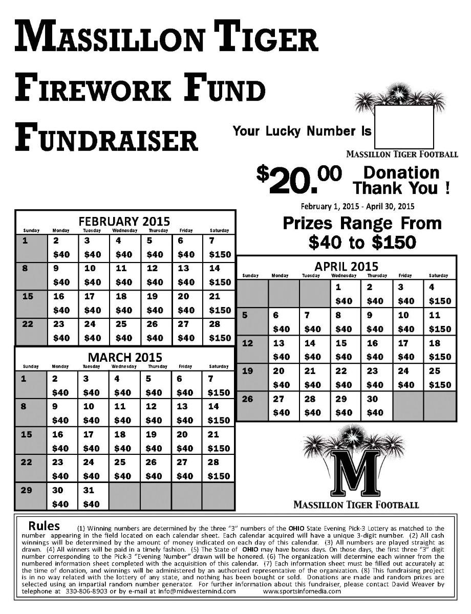 Calendar Raffle Fundraiser Template Calendar Fundraising Kit