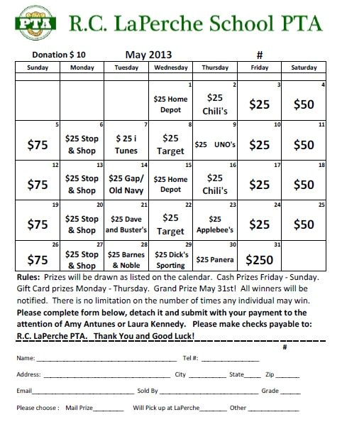 may calendar raffle purchase tickets today