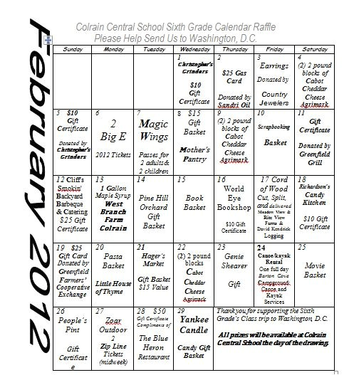 Calendar Raffle Fundraiser Template Modal Title