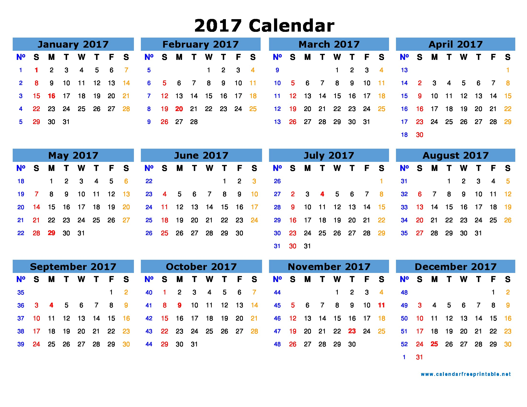 Calendar with Pictures Template 2017 Calendar Printable with Holidays Calendar Free