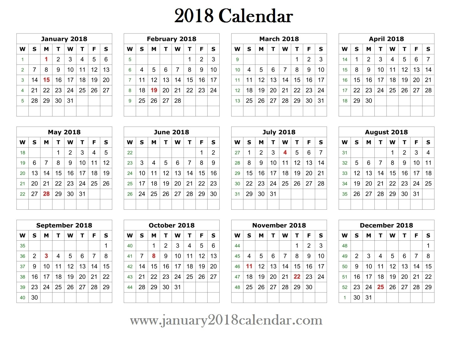 2018 printable word calendar template