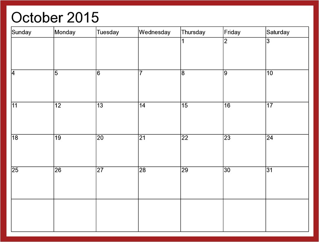 Calendar with Pictures Template October 2015 Calendar Printable Free 2017 Printable Calendar