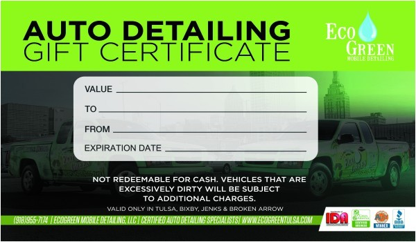 Car Wash Gift Certificate Template Gift Certificates Ecogreen Mobile Detailing