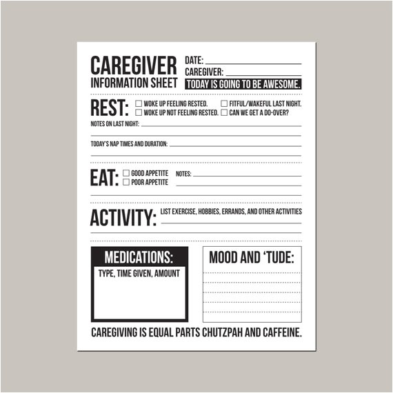 Caregiver Calendar Template Caregiver Information Sheet for Individuals with Dementia