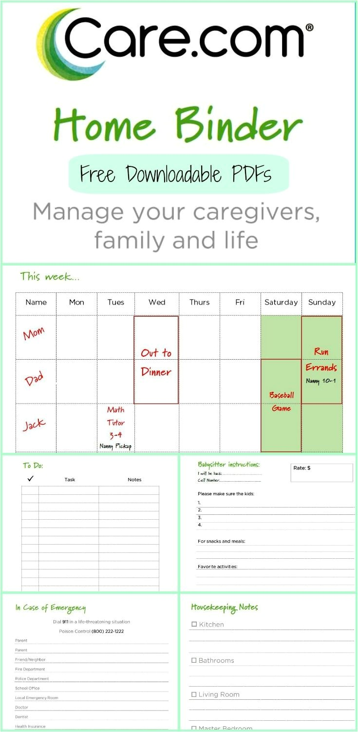 Caregiver Calendar Template the Care Com Home Binder Home Binder Babysitters and