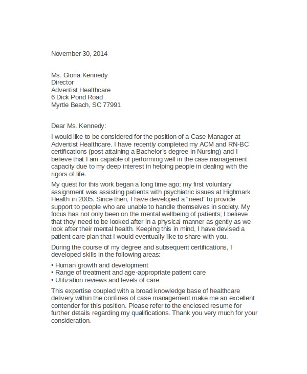 Case Manager Cover Letter Template 7 Case Manager Cover Letter Sample Templates