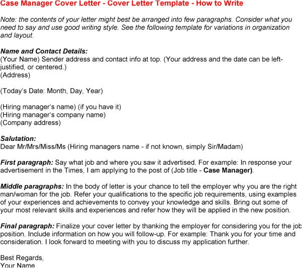 case manager cover letter sample