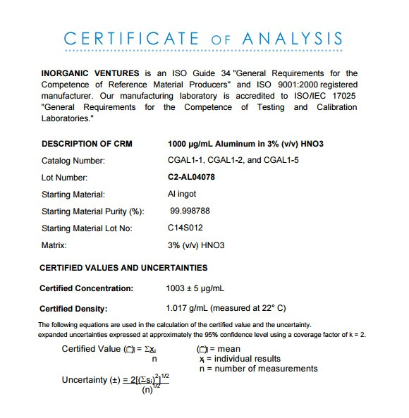 Certificate Of Analysis Fda Template 11 Sample Certificate Of Analysis Templates to Download
