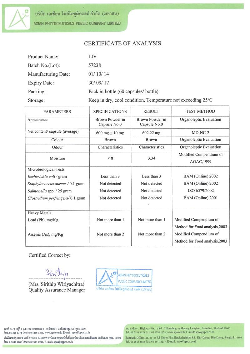 Certificate Of Analysis Fda Template Fda Certificates Liv Capsules