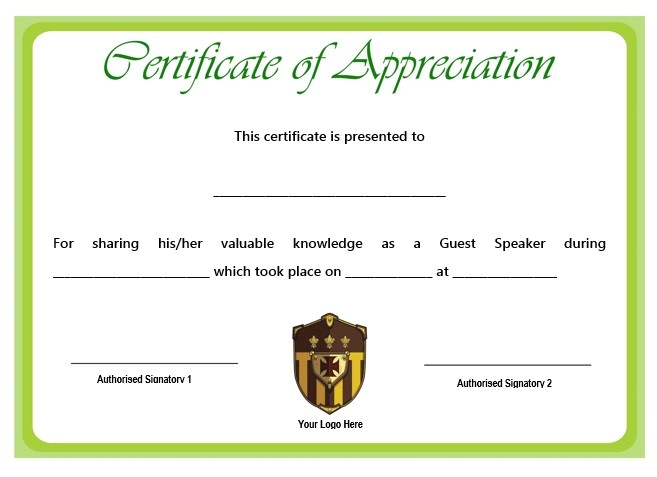 sample certification of appreciation for guest speaker