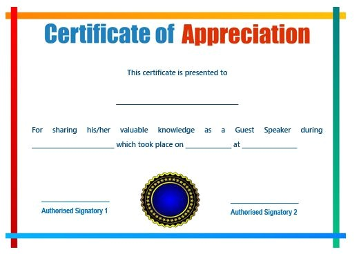 Certificate Of Appreciation for Speakers Template 50 Professional Free Certificate Of Appreciation
