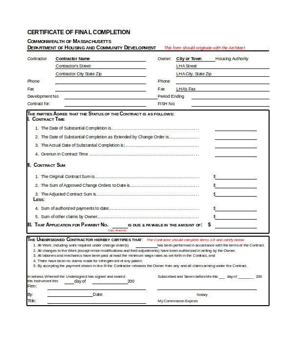 Certificate Of Final Completion Template Certificate Of Completion 25 Free Word Pdf Psd