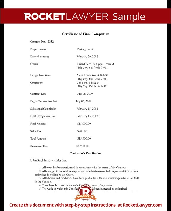 certificate of final completion rl