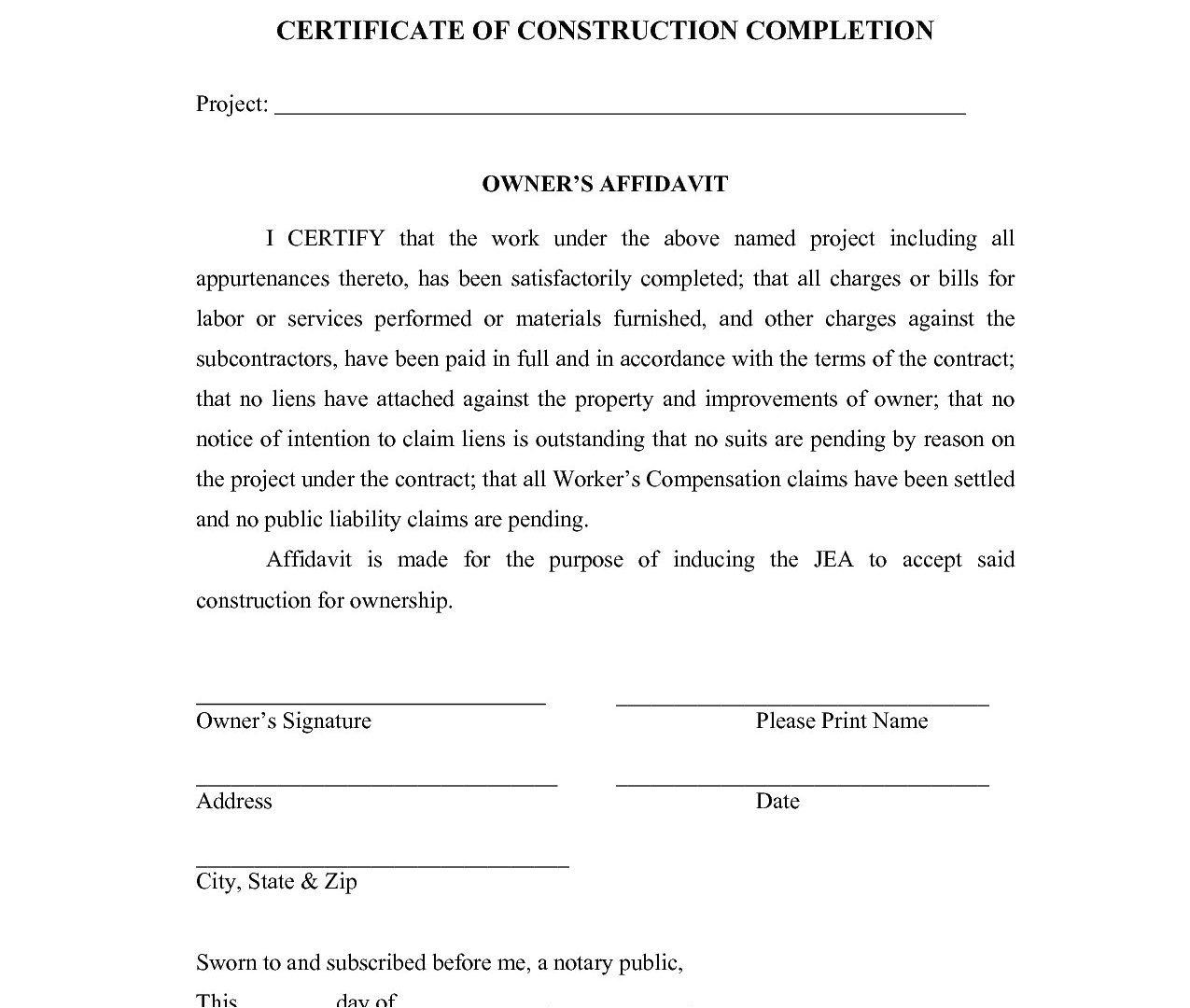 Certificate Of Final Completion Template Civil Work Completion Certificate Sample Copy Certificate