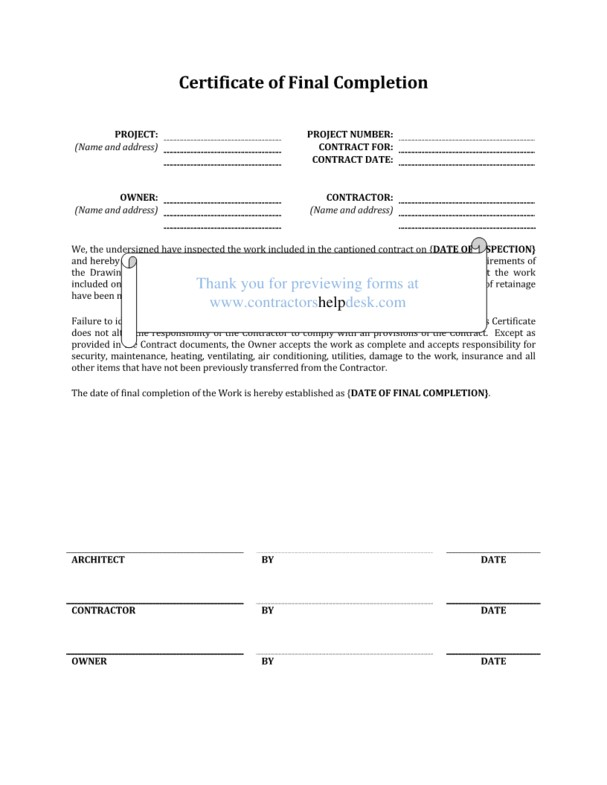 construction work completion form