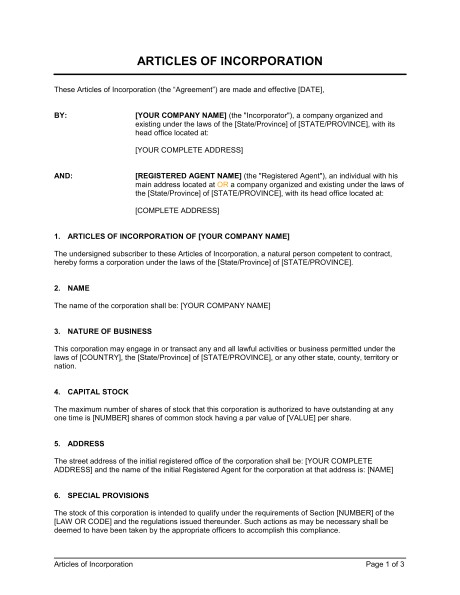 articles of incorporation d91
