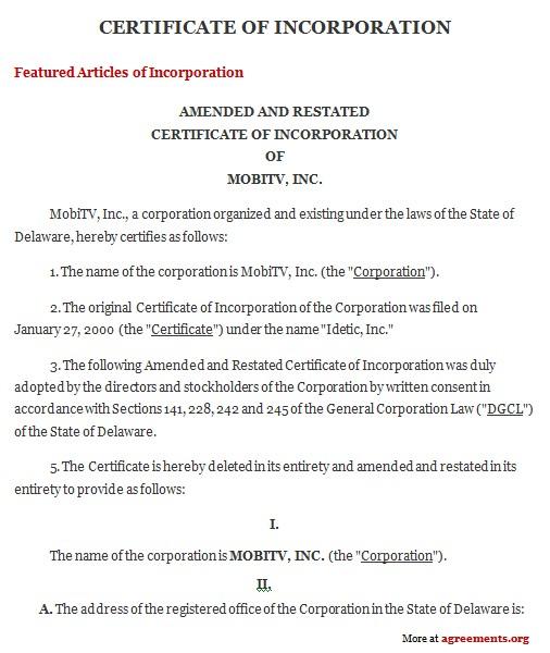 sample certificate incorporation