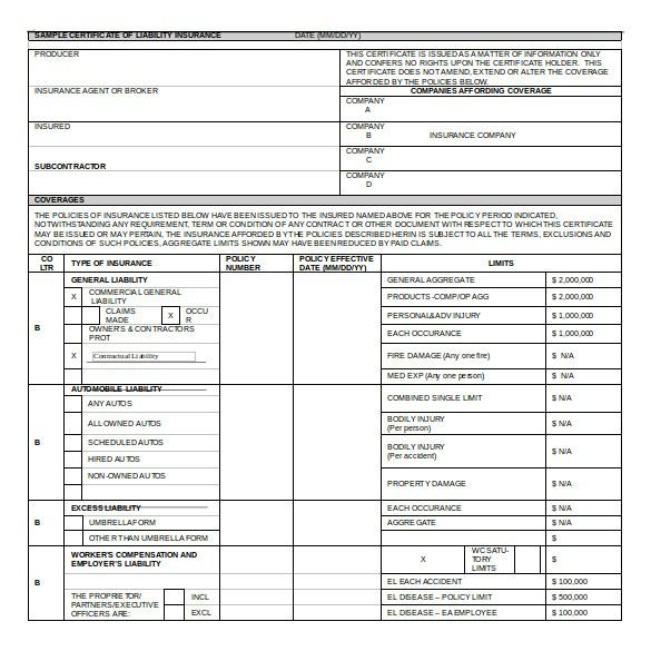 Certificate Of Insurance Request form Template 15 Certificate Of Insurance Templates to Download Sample