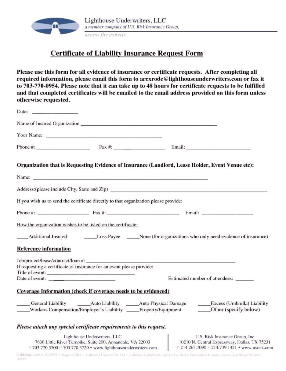 certificate of insurance request form template gallery templates intended for certificate of insurance request form template