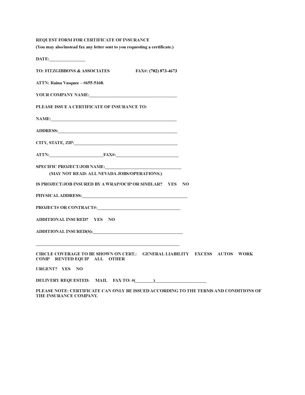 Certificate Of Insurance Request form Template forms Fitzgibbons associates
