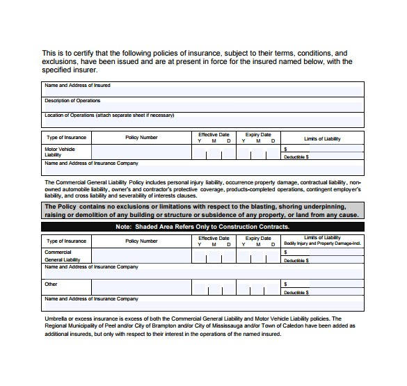 Certificate Of Insurance Template Doc 15 Certificate Of Insurance Templates to Download Sample