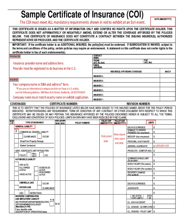 Certificate Of Insurance Template Doc Insurance Certificate Template 10 Free Word Pdf