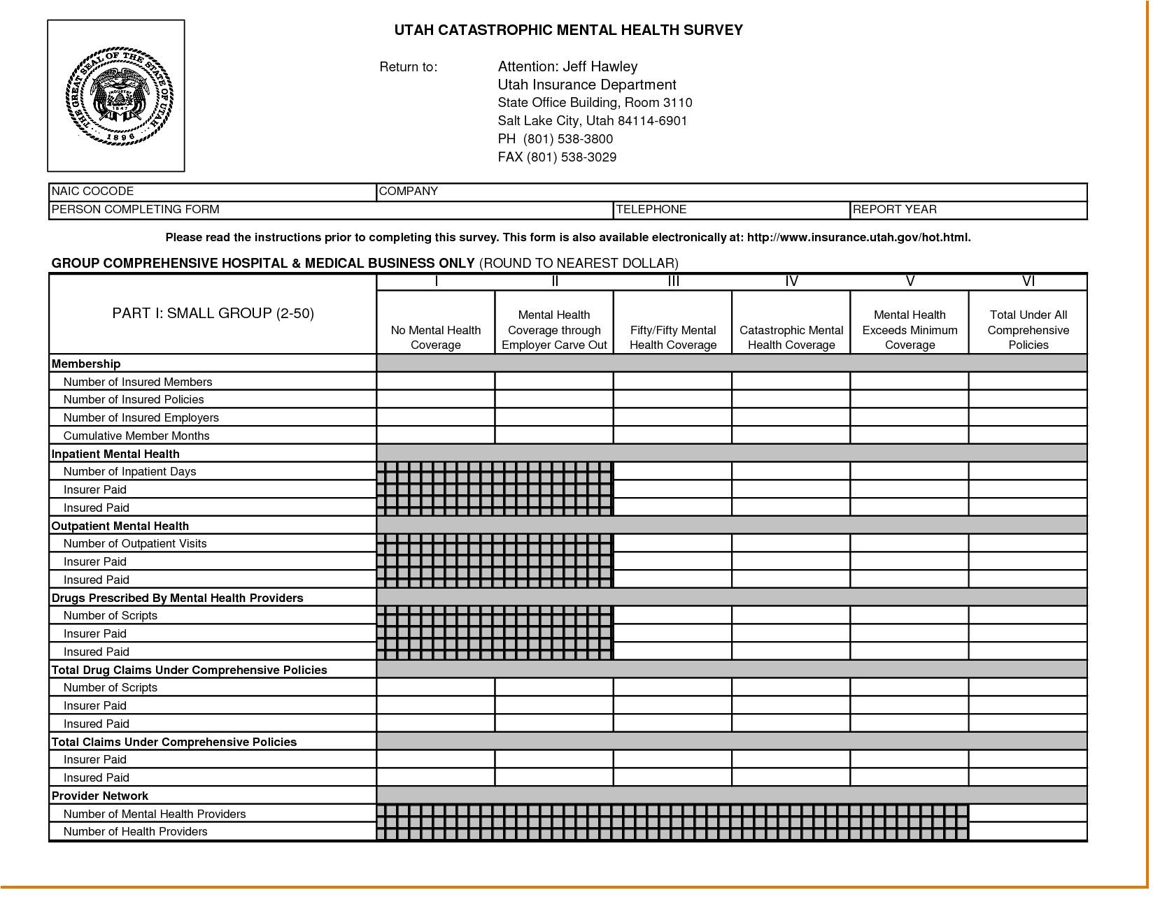 insurance spreadsheet template