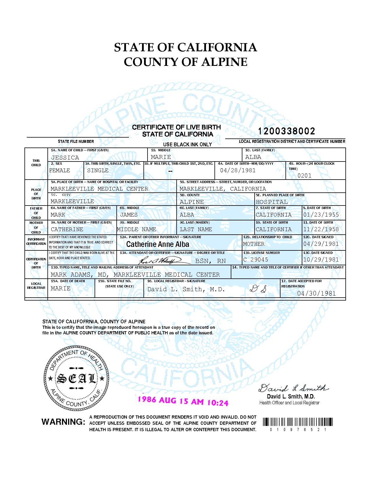 post certificate of live birth 768064