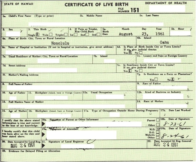 certificate of live birth template
