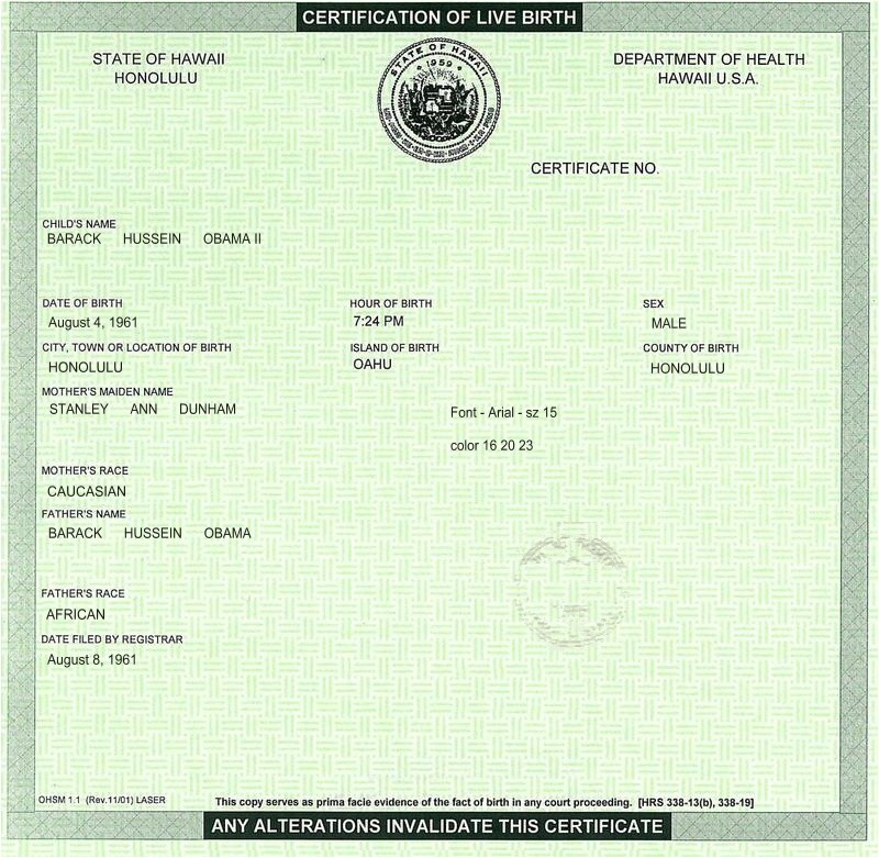 Certificate Of Live Birth Template Create Your Own Barack Obama Hawaiian Birth Cetification