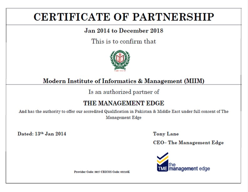 Certificate Of Partnership Template the Management Edge Group Australia the Miim islamabad