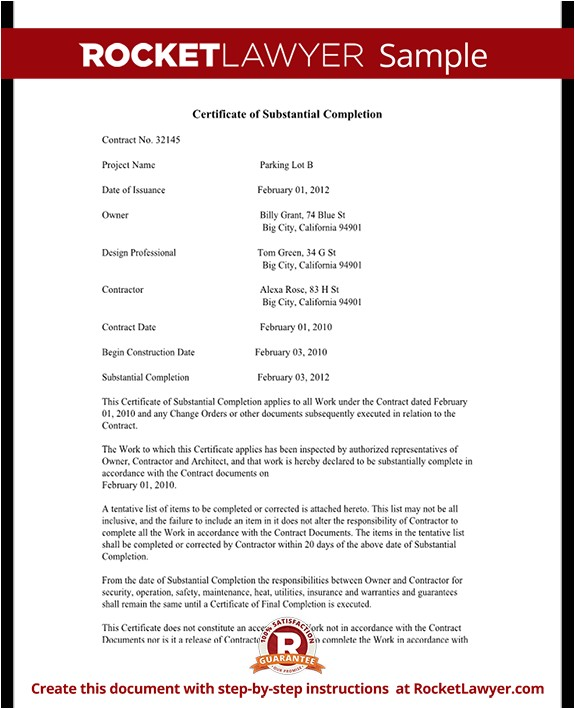 Certificate Of Substantial Completion Template Certificate Of Substantial Completion form for
