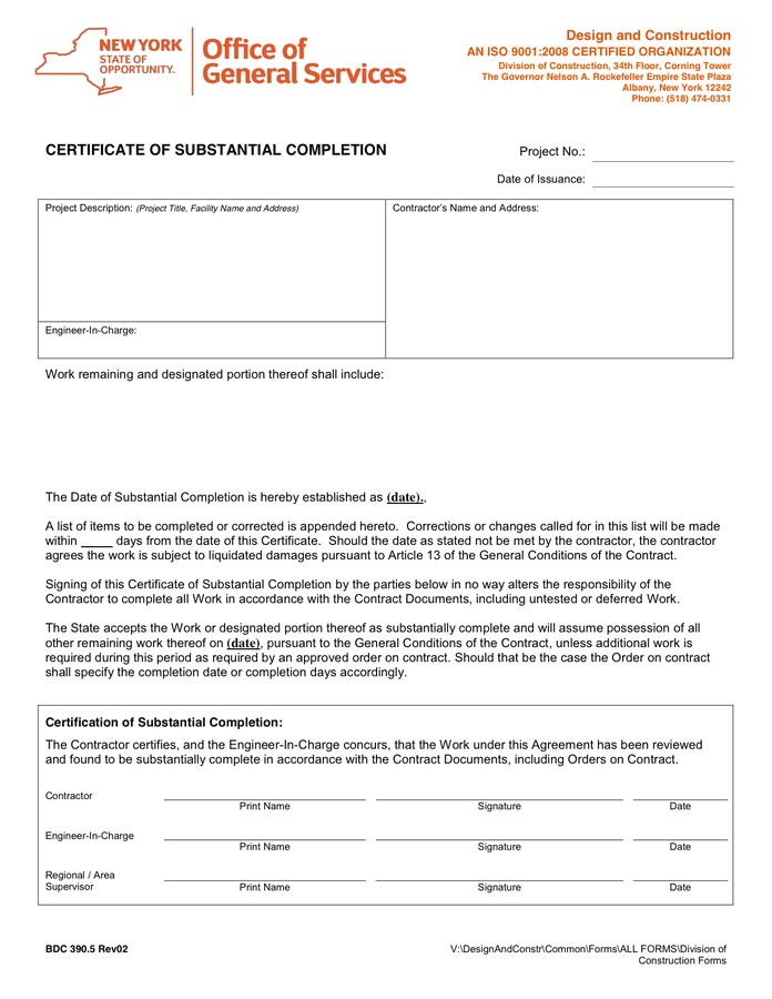 certificate of substantial completion