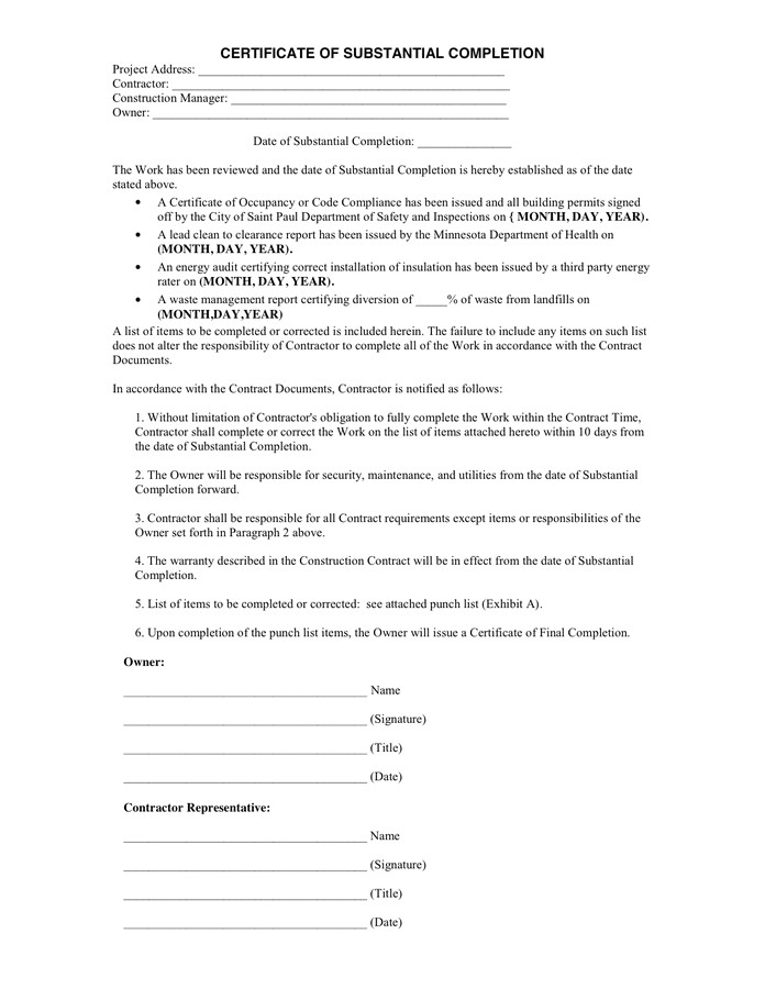 certificate of substantial completion 3