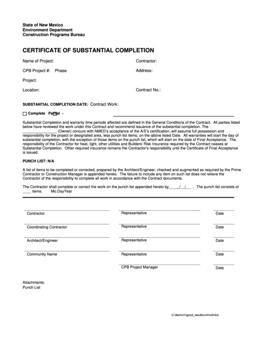 Certificate Of Substantial Completion Template top 6 Certificate Of Substantial Completion form Templates