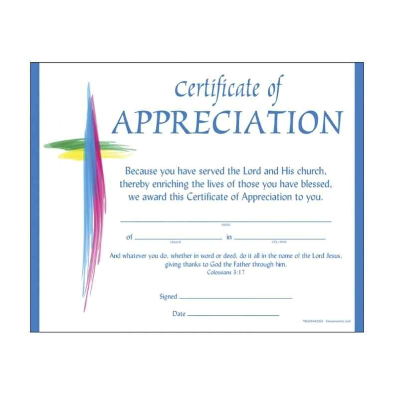christian certificate of appreciation
