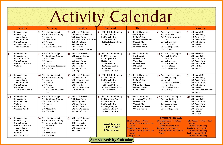 13 church calendar template