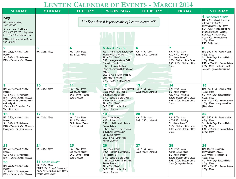 church events calendar templates