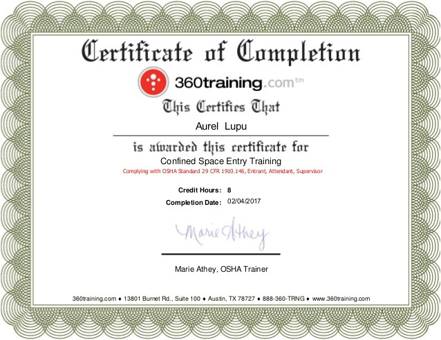 Confined Space Certificate Template 2 Confined Space Entry Osha Training
